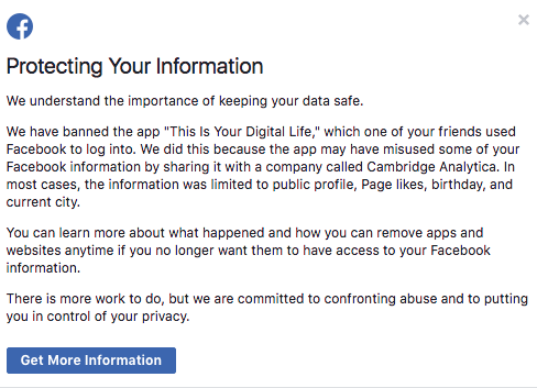 Facebook's notification regarding whether your data was accessed by Cambridge Analytica.